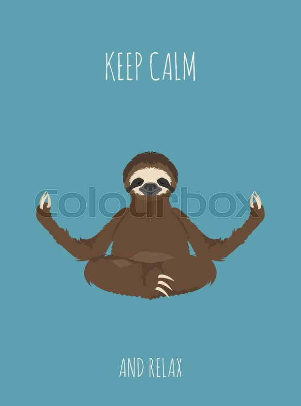 Sloth Yoga Collection Funny Cartoon Stock Vector Colourbox