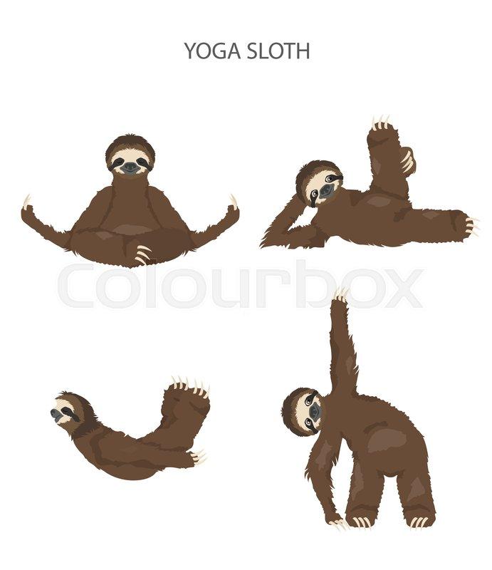 Sloth Yoga Collection Funny Cartoon Stock Vector Colourbox