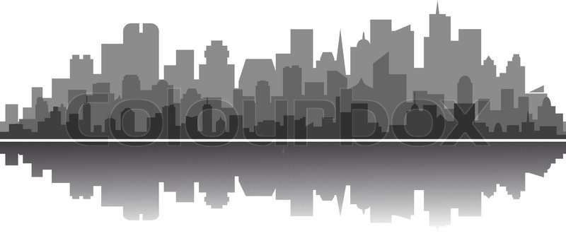 Modern City Silhouette Stock Vector Colourbox