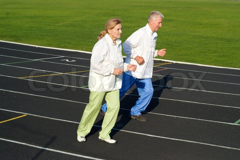 Stock image of 'Old people running'