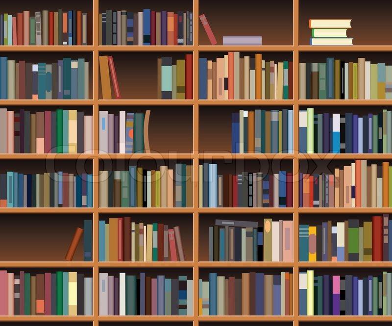 Cartoon Bookshelf Vector wooden bookshelf