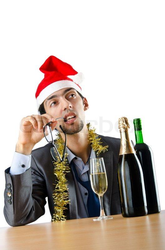 drunk b roarbeiter nach weihnachtsfeier stockfoto. Black Bedroom Furniture Sets. Home Design Ideas