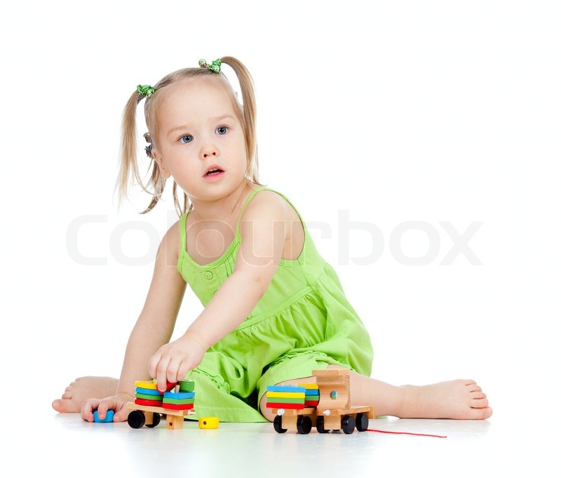 Adorable Little Girl Playing With Beach Toys During: Pretty Little Girl Playing With Developmental Toy