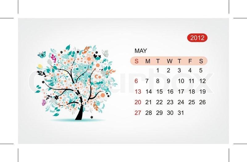 Calendar Art Design : Vector calendar may art tree design stock
