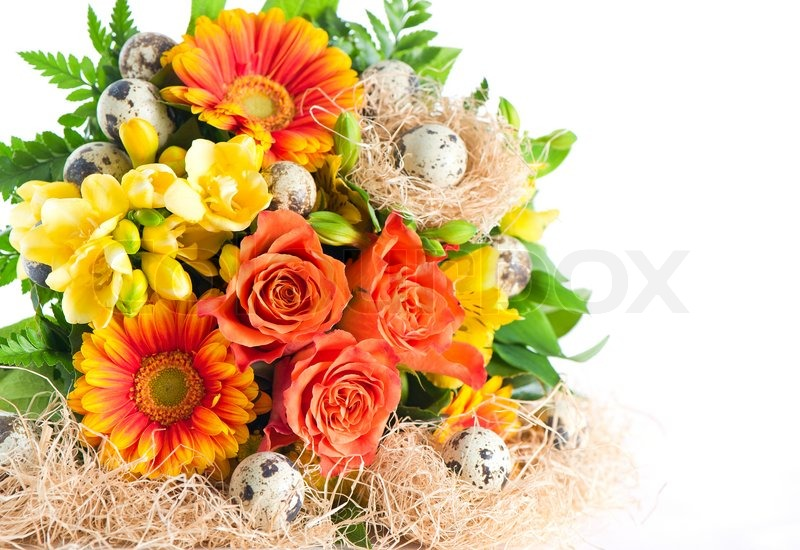 Colorful flowers bouquet with easter eggs   Stock Photo   Colourbox