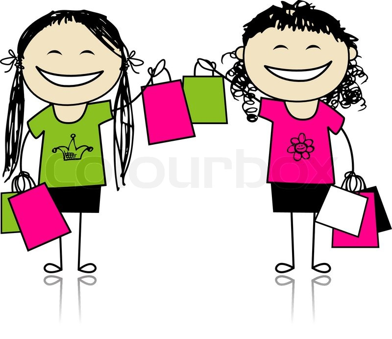 Shopping With Friends Girls With Bags For Your Design Stock Vector Colourbox