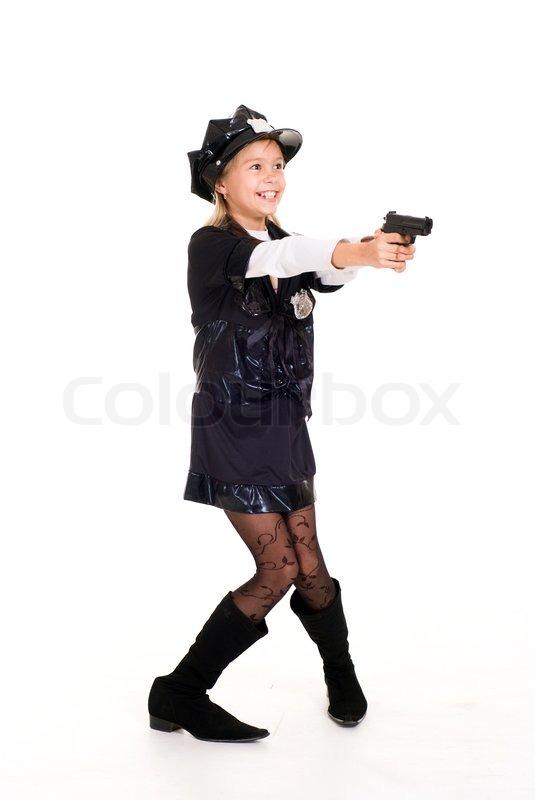 Kleines Madchen In Polizei Kostum Stockfoto Colourbox