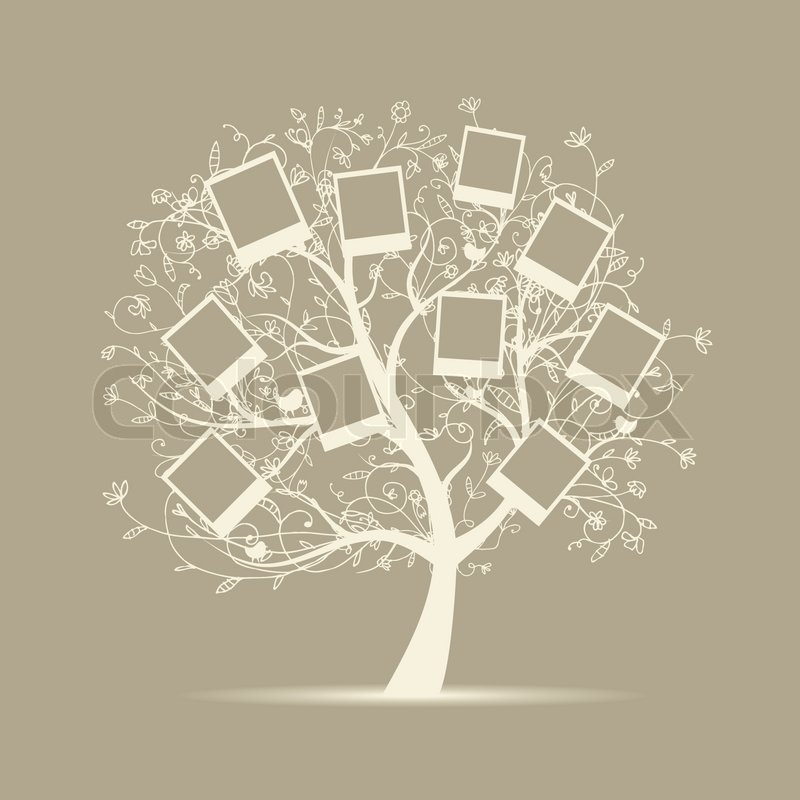 Family tree design, insert your photos into frames | Stock Vector | Colourbox