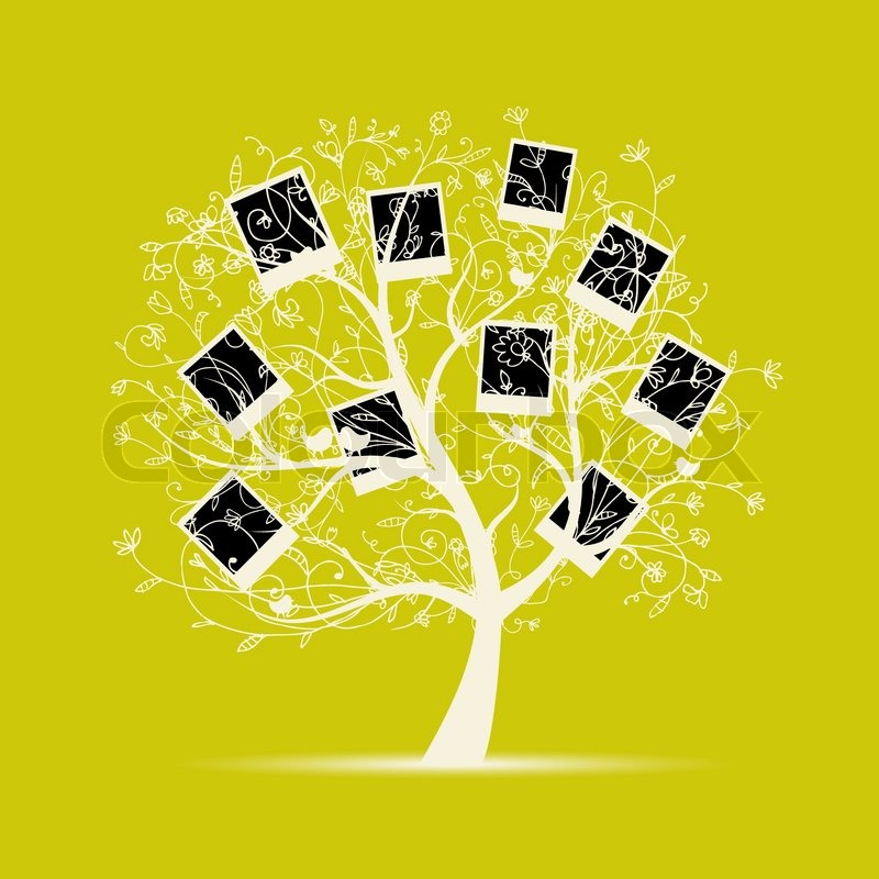 Family tree design, insert your photos into frames | Stock Vector ...