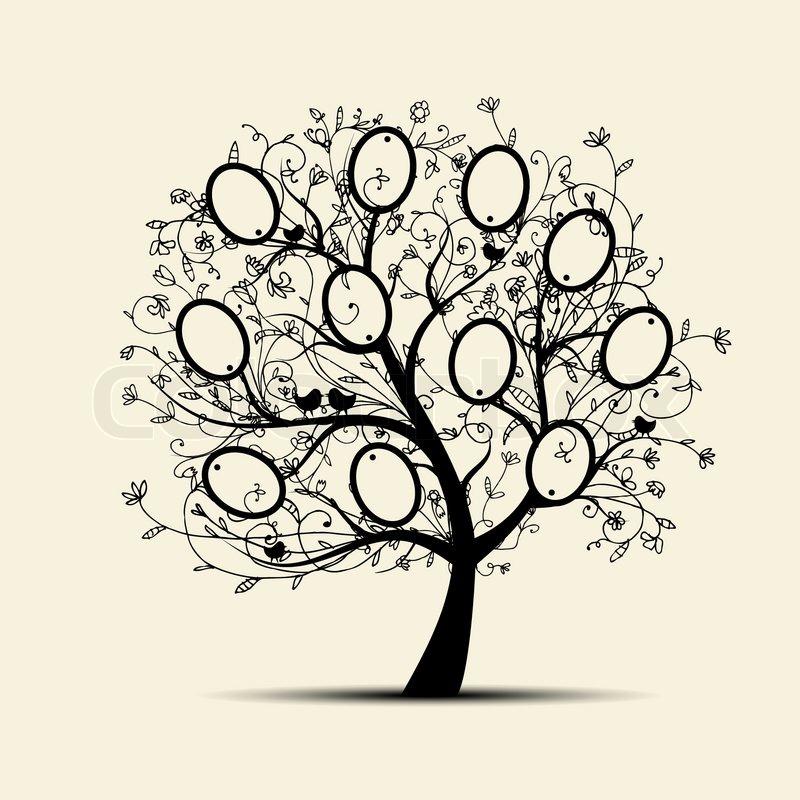 Stammbaum Design, fügen Sie Ihre Fotos in Frames | Vektorgrafik ...