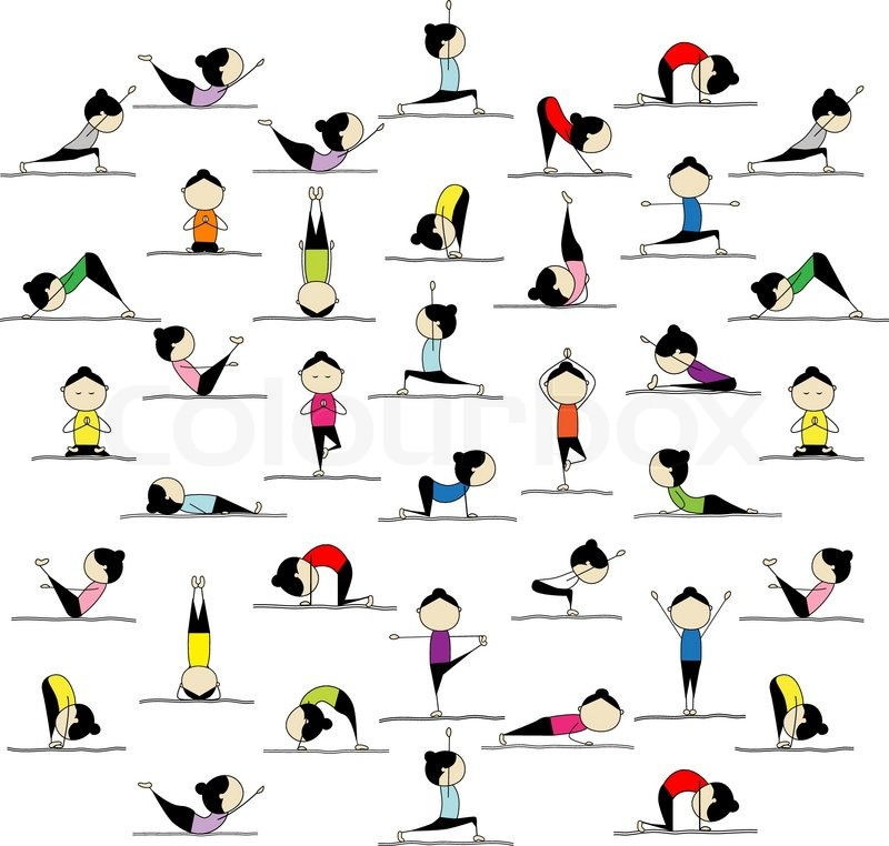 People Practicing Yoga 25 Poses For Your Design Stock
