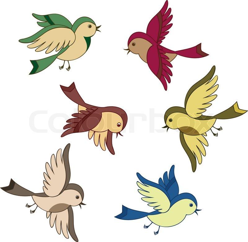 Stock vector of set of flying bird cartoon