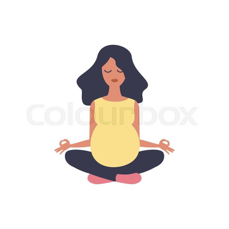 Beautiful Pregnant Woman Yoga Stock Vector Colourbox