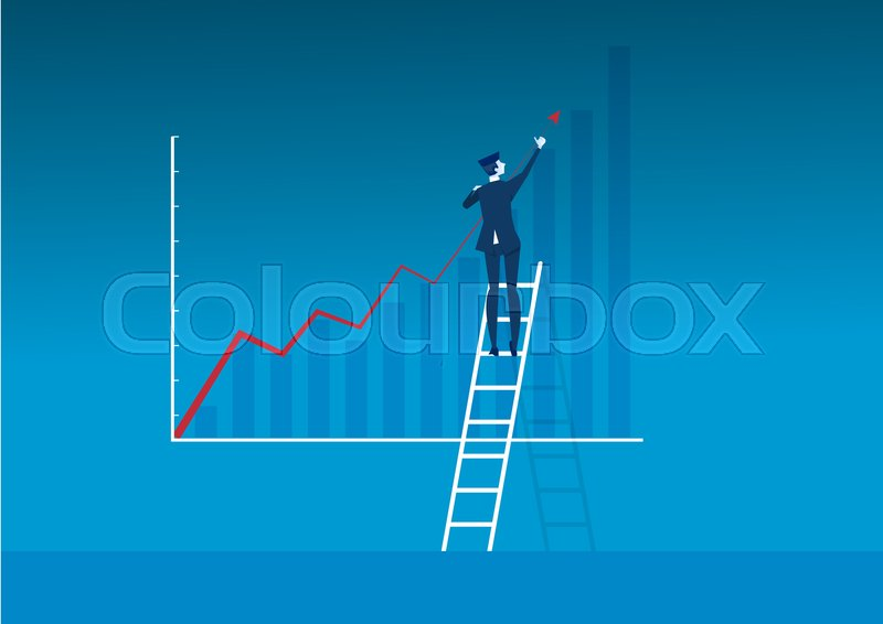 Businessman stair make direct growth     | Stock vector | Colourbox