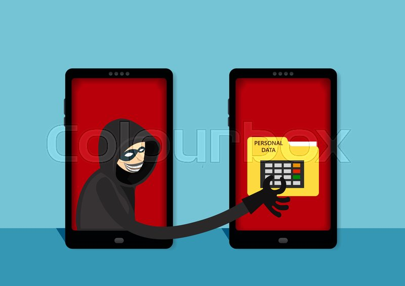 The hacker steal to personal data on ... | Stock vector | Colourbox
