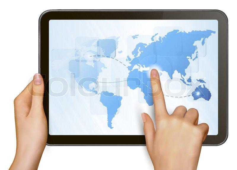 finger touching world map on a touch screen stock vector colourbox