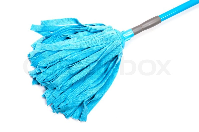 Blue mop for cleaning floor   Stock Photo   Colourbox