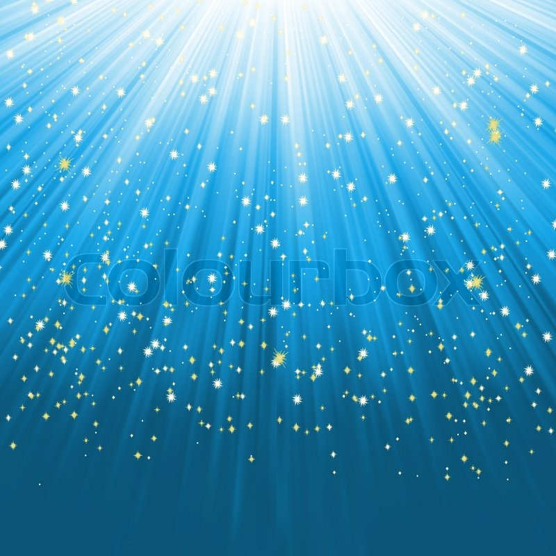 Blue light burst with stars EPS 8 stock vector