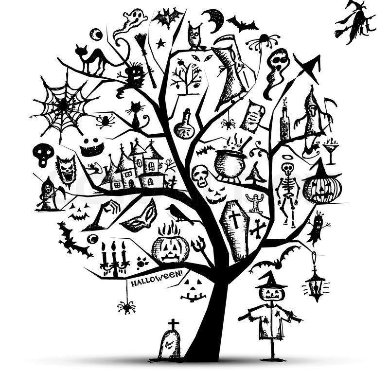 Halloween tree for your design | Stock Vector | Colourbox