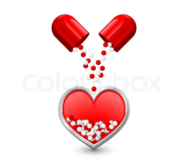 Capsule Is Divided In Half Pours Red White Granules In The Heart