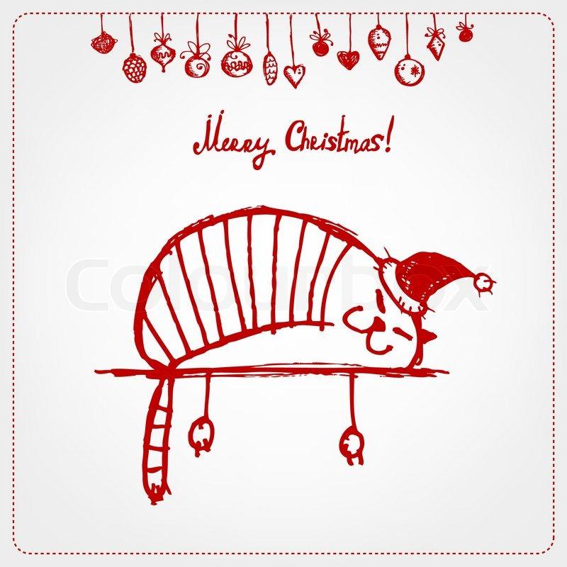 Weihnachtskarte, lustige Santa-Katze für Ihr design | Vektorgrafik ...