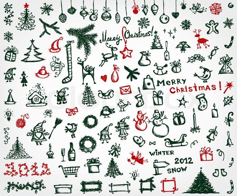 weihnachts icons skizze zeichnung f r ihr design. Black Bedroom Furniture Sets. Home Design Ideas