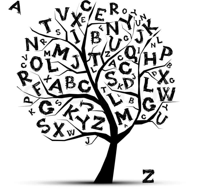 Art Tree With Letters Of Alphabetfor Your Design Stock