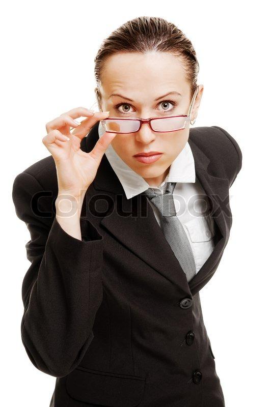 serious businesswoman in glasses stock photo colourbox