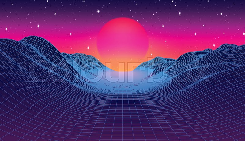 80s synthwave styled landscape with     | Stock vector | Colourbox