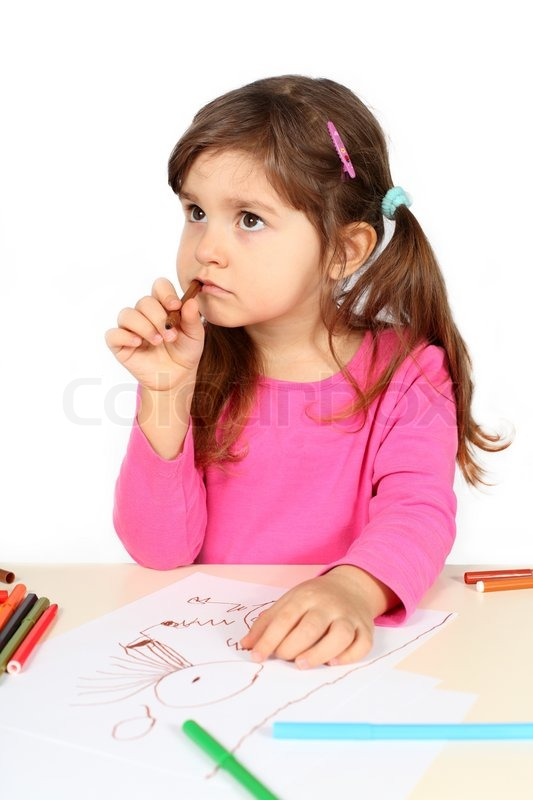 little girl thinking over drawing stock photo colourbox