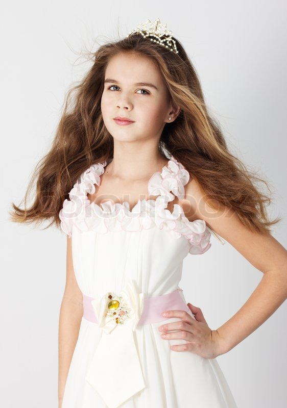 Beautiful Little Girl In Princess Dress Stock Photo