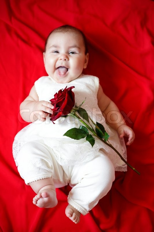 Cute Girl With Rose Cute Girl With Red Rose