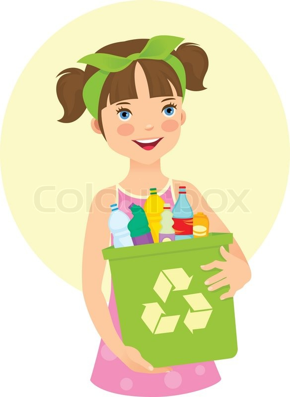 Little Girl Holding Recycling Bin  Vector  Colourbox-2112