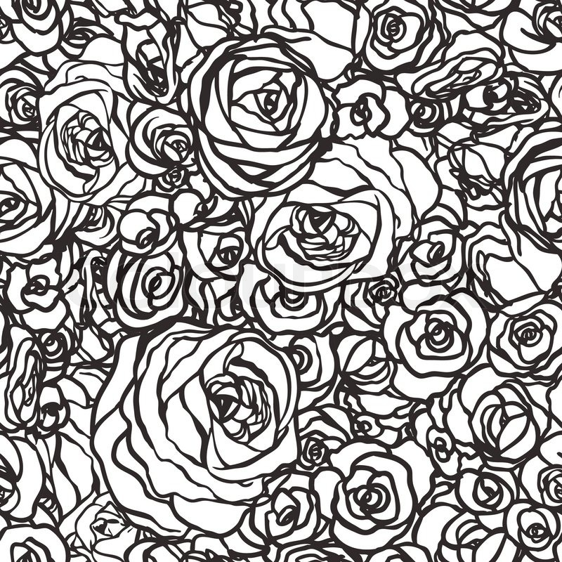 Seamless Pattern With Flowers Roses Vector Floral Illustration In Vintage Style