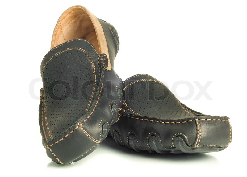 Modern footwear Black mens shoes moccasins over white Wide-angle ...