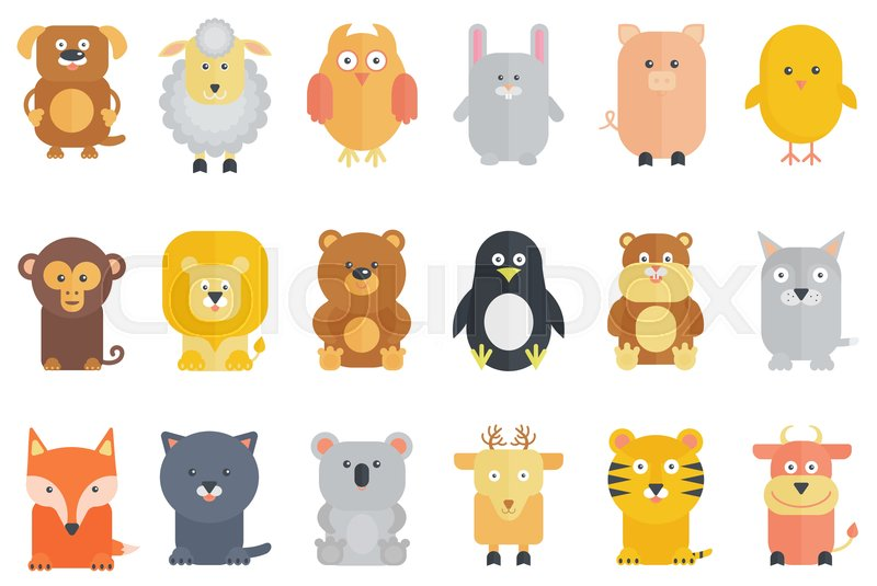 Cute Cartoon Animals Collection Flat Stock Vector Colourbox