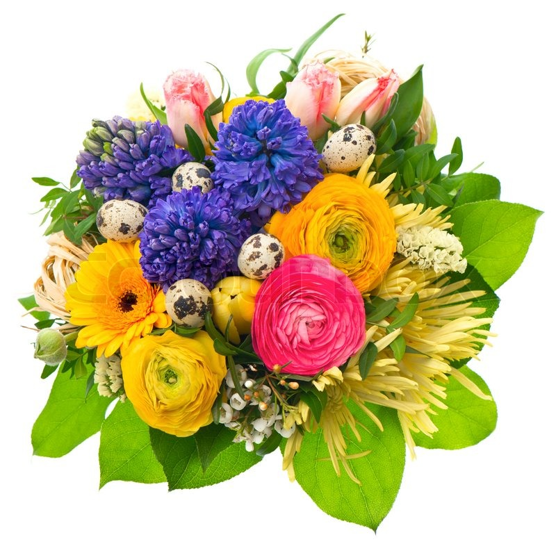 Beautiful easter bouquet of colorful spring flowers | Stock Photo ...