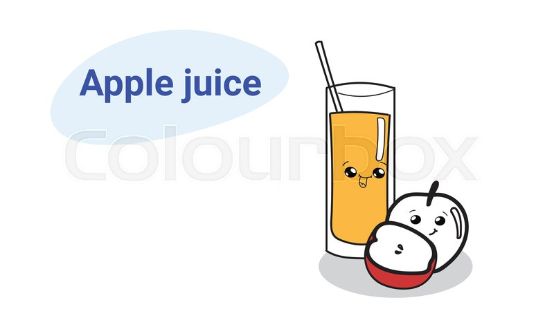 Cute glass of juice with apple fruit     | Stock vector