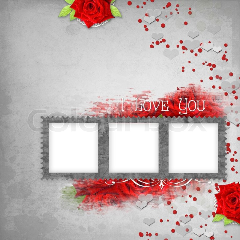 Retro background with stamp-frame, hearts, text I love you, red ...