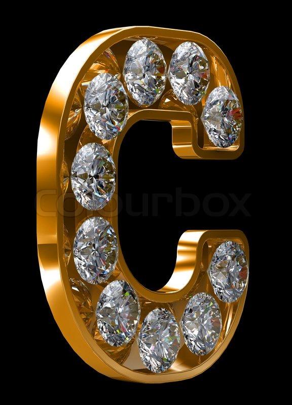 C Letter In Diamond Golden C letter...
