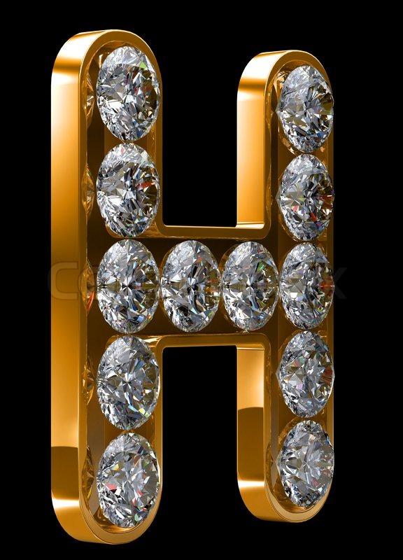H Letter In Diamond Golden H letter incrus...