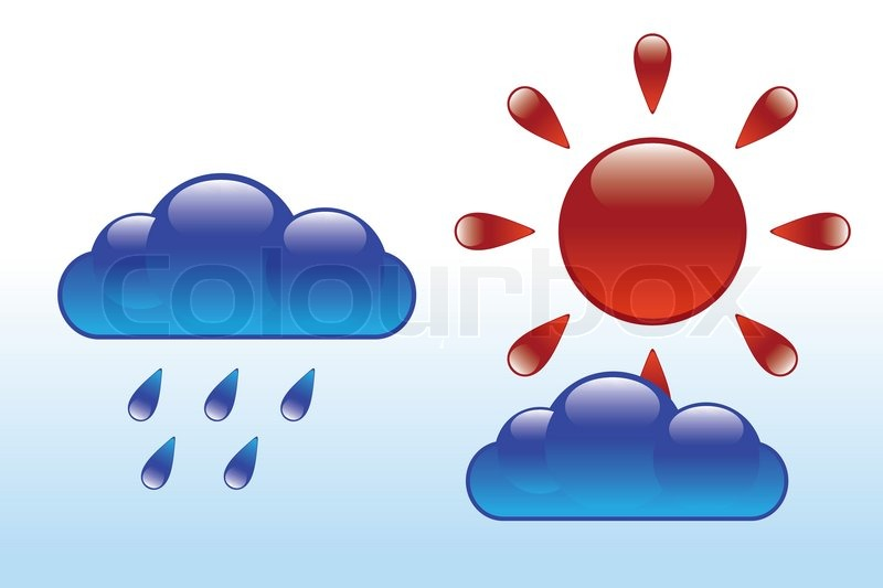 Glossy sun and clouds weather vector illustration, vector