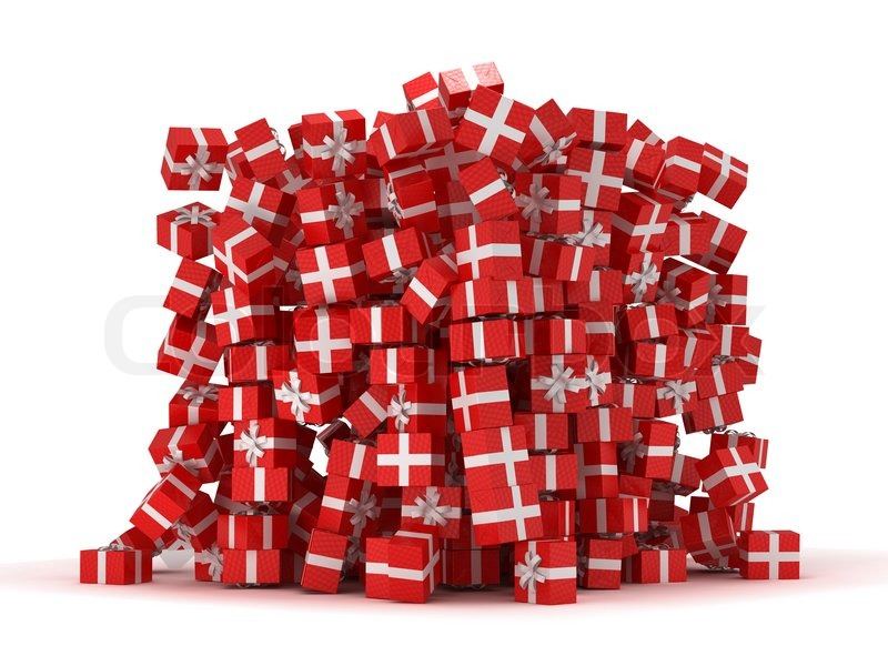 Pile of red gift boxes with presents stock photo colourbox