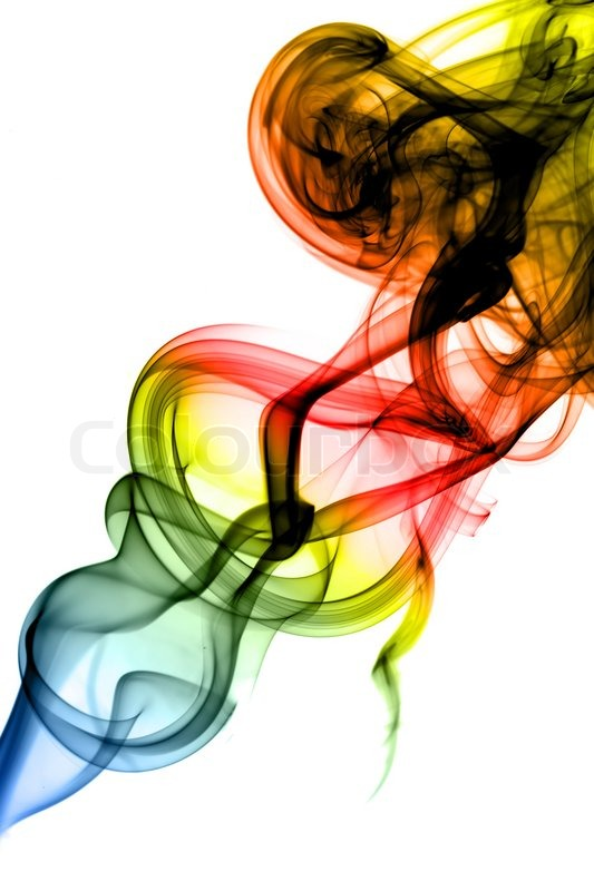 Colored Abstract smoke swirls on white | Stock Photo | Colourbox