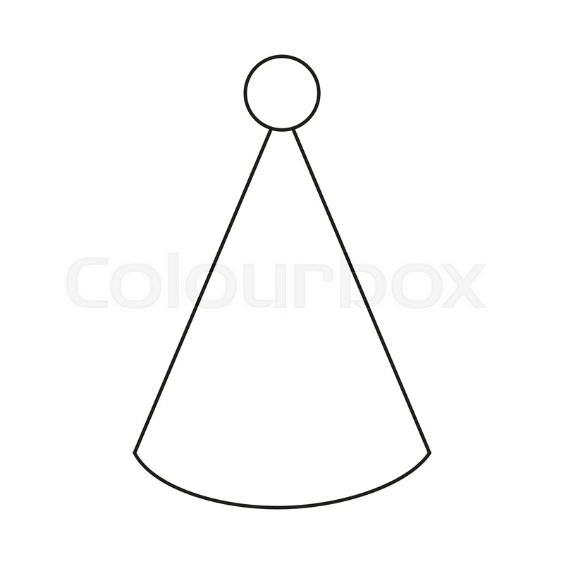 Line Art Black And White Party Hat Stock Vector Colourbox