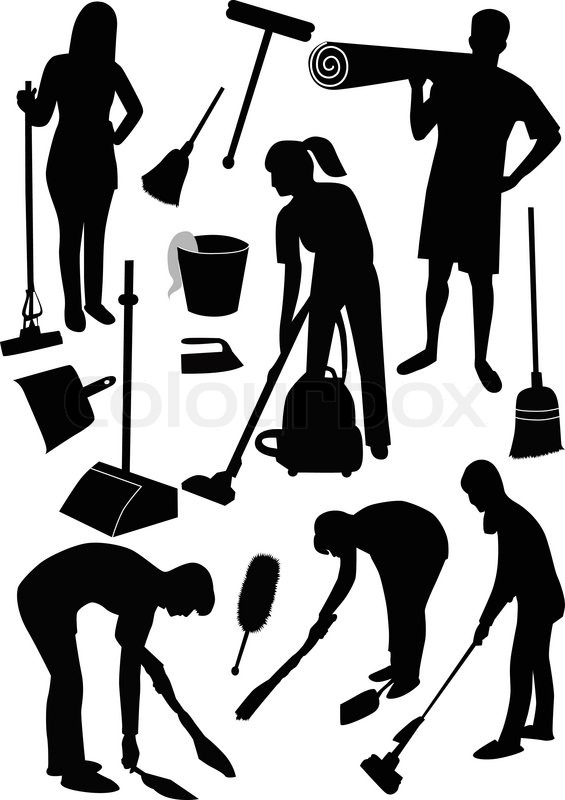 Quot Cleaning In House Man Woman Quot Stock Vector Colourbox