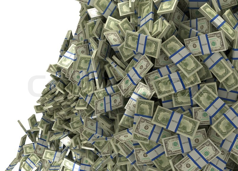 Much Money And Wealth Us Dollar Bundles Falling Stock