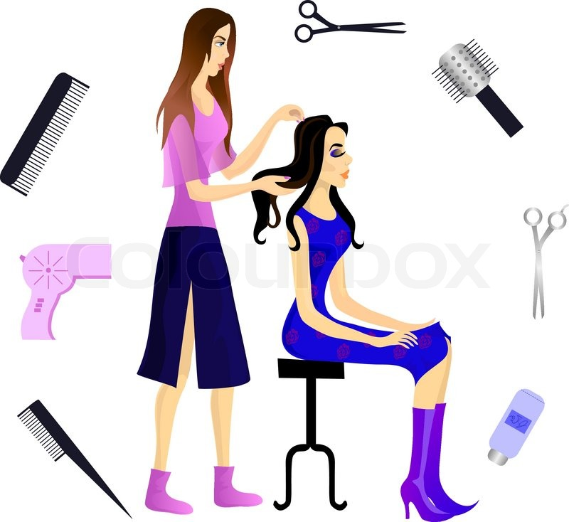 hairdresser and her client eps 10 stock vector colourbox rh colourbox com beautician birthday clipart beautician clip art free