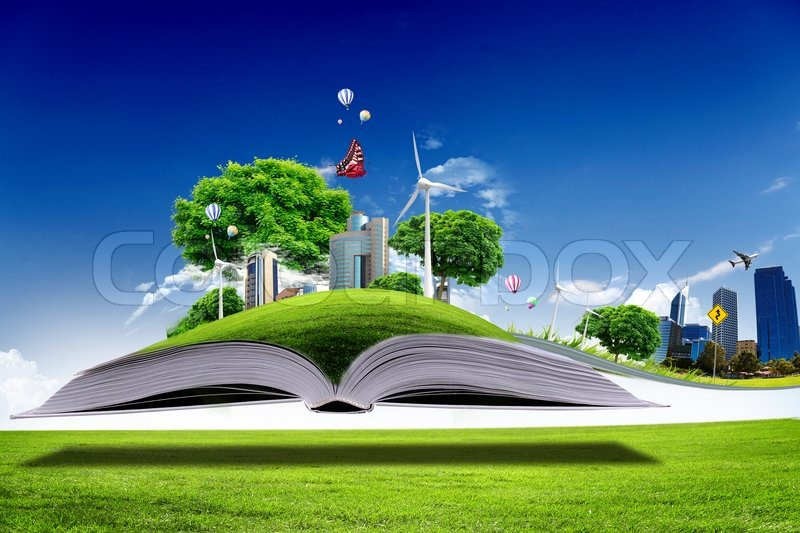Open Book With Green Nature World Stock Photo Colourbox