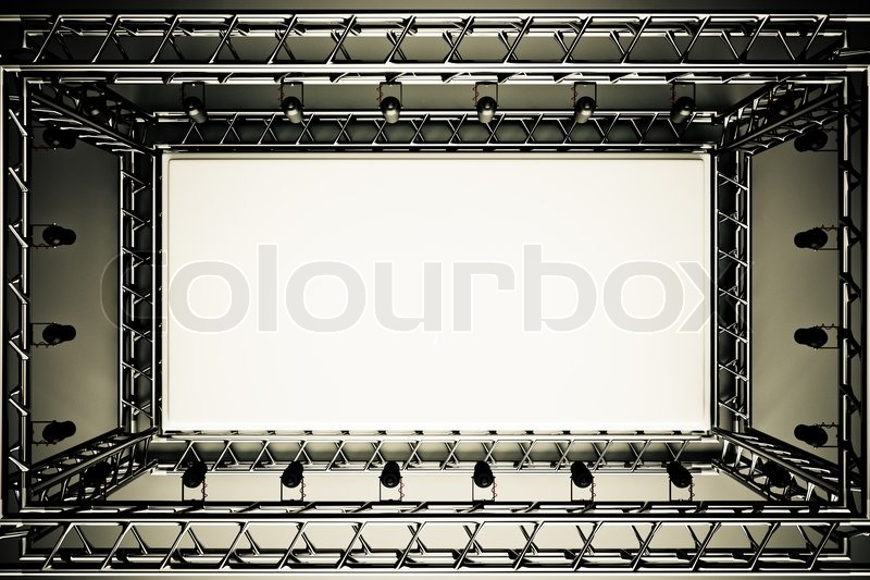 Stock image of 'A concert stage with metal frame and spots lights'